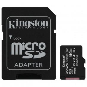 Carte mémoire Micro-SD Kingston Canvas Select Plus 64Go Class 10 avec adaptateur