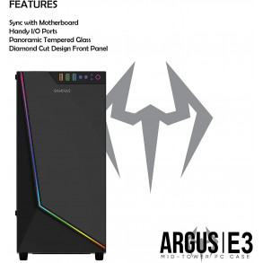 Boitier Moyen Tour ATX Gamdias Argus E3 RGB avec panneau vitré (Noir)
