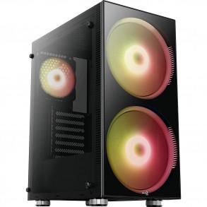 Boitier Moyen Tour ATX AeroCool Python RGB avec panneau vitré (Noir)