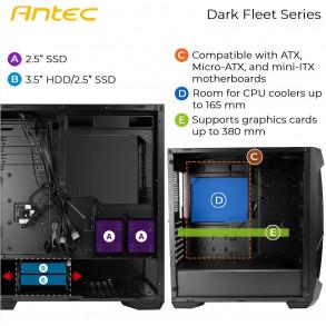 Boitier Moyen Tour ATX Antec Dark Fleet DF500 RGB avec panneau vitré (Noir)